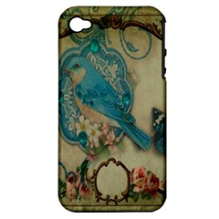 Victorian Girly Blue Bird Vintage Damask Floral Paris Eiffel Tower Apple iPhone 4/4S Hardshell Case (PC+Silicone)