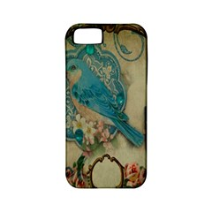 Victorian Girly Blue Bird Vintage Damask Floral Paris Eiffel Tower Apple Iphone 5 Classic Hardshell Case (pc+silicone)