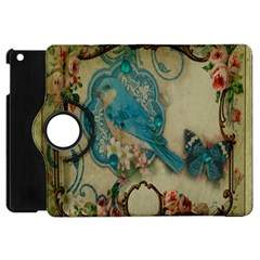 Victorian Girly Blue Bird Vintage Damask Floral Paris Eiffel Tower Apple Ipad Mini Flip 360 Case