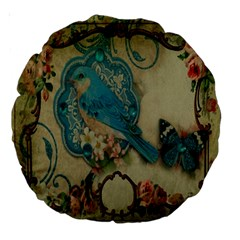 Victorian Girly Blue Bird Vintage Damask Floral Paris Eiffel Tower 18  Premium Round Cushion