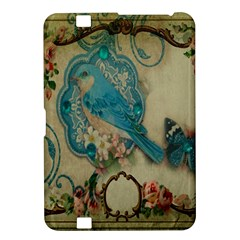 Victorian Girly Blue Bird Vintage Damask Floral Paris Eiffel Tower Kindle Fire Hd 8 9  Hardshell Case