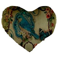 Victorian Girly Blue Bird Vintage Damask Floral Paris Eiffel Tower 19  Premium Heart Shape Cushion