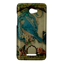 Victorian Girly Blue Bird Vintage Damask Floral Paris Eiffel Tower HTC X920E(Butterfly) Case