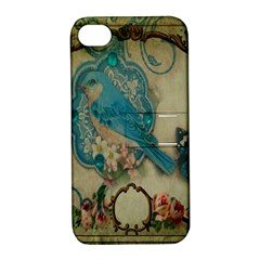 Victorian Girly Blue Bird Vintage Damask Floral Paris Eiffel Tower Apple iPhone 4/4S Hardshell Case with Stand