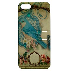 Victorian Girly Blue Bird Vintage Damask Floral Paris Eiffel Tower Apple Iphone 5 Hardshell Case With Stand