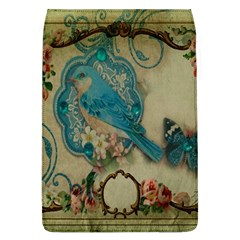 Victorian Girly Blue Bird Vintage Damask Floral Paris Eiffel Tower Removable Flap Cover (Large)