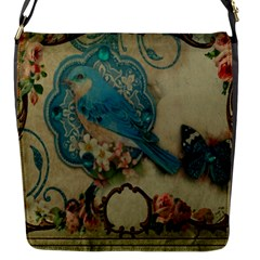 Victorian Girly Blue Bird Vintage Damask Floral Paris Eiffel Tower Flap closure messenger bag (Small)