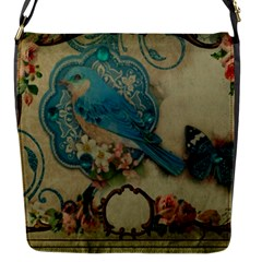 Victorian Girly Blue Bird Vintage Damask Floral Paris Eiffel Tower Removable Flap Cover (small)
