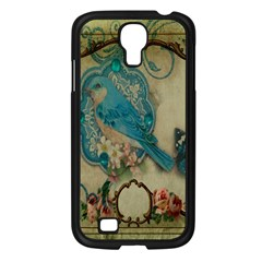Victorian Girly Blue Bird Vintage Damask Floral Paris Eiffel Tower Samsung GALAXY S4 I9500/ I9505 (Black)