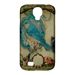 Victorian Girly Blue Bird Vintage Damask Floral Paris Eiffel Tower Samsung Galaxy S4 Classic Hardshell Case (pc+silicone)