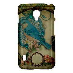Victorian Girly Blue Bird Vintage Damask Floral Paris Eiffel Tower LG P715 (Optimus L7 II) Hardshell Case