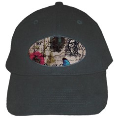 Floral Scripts Blue Butterfly Eiffel Tower Vintage Paris Fashion Black Baseball Cap