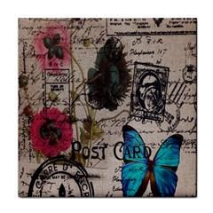 Floral Scripts Blue Butterfly Eiffel Tower Vintage Paris Fashion Ceramic Tile