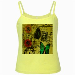Floral Scripts Blue Butterfly Eiffel Tower Vintage Paris Fashion Yellow Spaghetti Tank