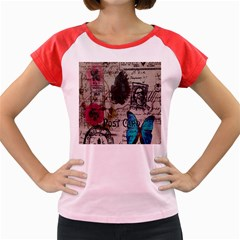 Floral Scripts Blue Butterfly Eiffel Tower Vintage Paris Fashion Women s Cap Sleeve T-Shirt (Colored)