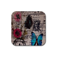 Floral Scripts Blue Butterfly Eiffel Tower Vintage Paris Fashion Drink Coasters 4 Pack (square)