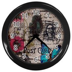 Floral Scripts Blue Butterfly Eiffel Tower Vintage Paris Fashion Wall Clock (black)
