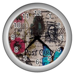 Floral Scripts Blue Butterfly Eiffel Tower Vintage Paris Fashion Wall Clock (Silver)