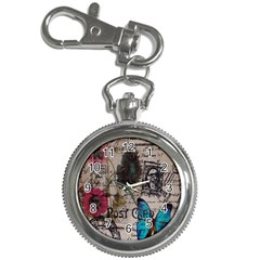 Floral Scripts Blue Butterfly Eiffel Tower Vintage Paris Fashion Key Chain & Watch
