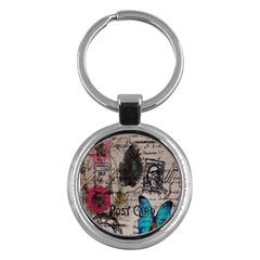 Floral Scripts Blue Butterfly Eiffel Tower Vintage Paris Fashion Key Chain (Round)