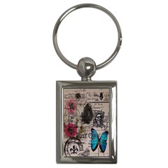 Floral Scripts Blue Butterfly Eiffel Tower Vintage Paris Fashion Key Chain (Rectangle)