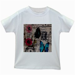 Floral Scripts Blue Butterfly Eiffel Tower Vintage Paris Fashion Kids' T-shirt (White)