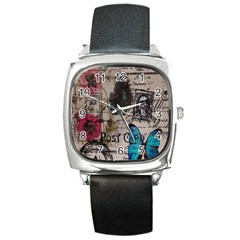 Floral Scripts Blue Butterfly Eiffel Tower Vintage Paris Fashion Square Leather Watch