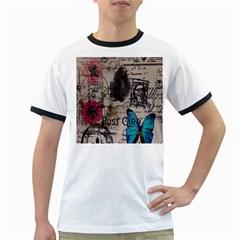 Floral Scripts Blue Butterfly Eiffel Tower Vintage Paris Fashion Mens' Ringer T-shirt