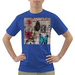 Floral Scripts Blue Butterfly Eiffel Tower Vintage Paris Fashion Mens' T-shirt (Colored)