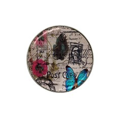 Floral Scripts Blue Butterfly Eiffel Tower Vintage Paris Fashion Golf Ball Marker 4 Pack (for Hat Clip)