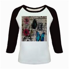 Floral Scripts Blue Butterfly Eiffel Tower Vintage Paris Fashion Women s Long Cap Sleeve T-Shirt