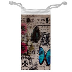 Floral Scripts Blue Butterfly Eiffel Tower Vintage Paris Fashion Jewelry Bag