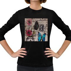 Floral Scripts Blue Butterfly Eiffel Tower Vintage Paris Fashion Womens' Long Sleeve T Shirt (dark Colored)