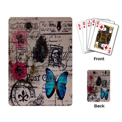 Floral Scripts Blue Butterfly Eiffel Tower Vintage Paris Fashion Playing Cards Single Design