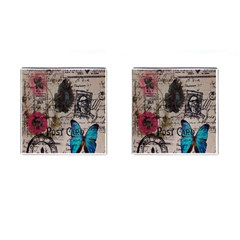 Floral Scripts Blue Butterfly Eiffel Tower Vintage Paris Fashion Cufflinks (Square)