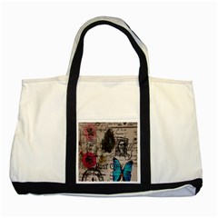 Floral Scripts Blue Butterfly Eiffel Tower Vintage Paris Fashion Two Toned Tote Bag