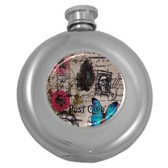 Floral Scripts Blue Butterfly Eiffel Tower Vintage Paris Fashion Hip Flask (Round)
