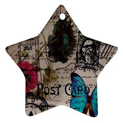 Floral Scripts Blue Butterfly Eiffel Tower Vintage Paris Fashion Star Ornament (Two Sides)
