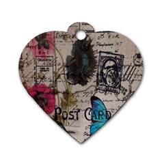 Floral Scripts Blue Butterfly Eiffel Tower Vintage Paris Fashion Dog Tag Heart (two Sided)