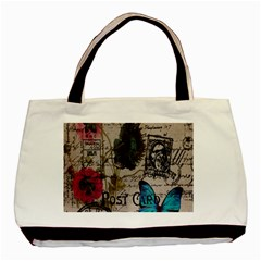 Floral Scripts Blue Butterfly Eiffel Tower Vintage Paris Fashion Twin-sided Black Tote Bag
