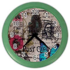 Floral Scripts Blue Butterfly Eiffel Tower Vintage Paris Fashion Wall Clock (Color)