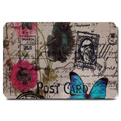 Floral Scripts Blue Butterfly Eiffel Tower Vintage Paris Fashion Large Door Mat