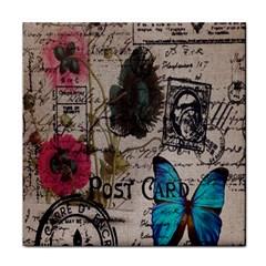 Floral Scripts Blue Butterfly Eiffel Tower Vintage Paris Fashion Face Towel