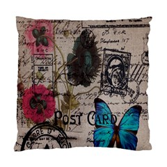Floral Scripts Blue Butterfly Eiffel Tower Vintage Paris Fashion Cushion Case (Single Sided)