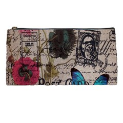Floral Scripts Blue Butterfly Eiffel Tower Vintage Paris Fashion Pencil Case