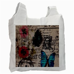 Floral Scripts Blue Butterfly Eiffel Tower Vintage Paris Fashion Recycle Bag (Two Sides)