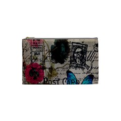 Floral Scripts Blue Butterfly Eiffel Tower Vintage Paris Fashion Cosmetic Bag (small)