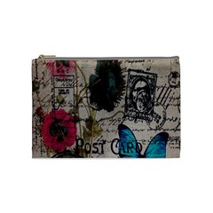 Floral Scripts Blue Butterfly Eiffel Tower Vintage Paris Fashion Cosmetic Bag (medium)