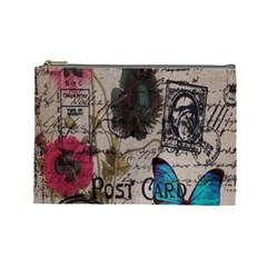 Floral Scripts Blue Butterfly Eiffel Tower Vintage Paris Fashion Cosmetic Bag (Large)