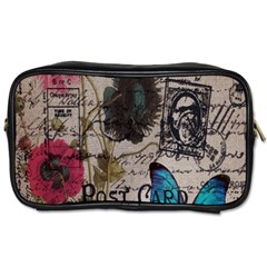 Floral Scripts Blue Butterfly Eiffel Tower Vintage Paris Fashion Travel Toiletry Bag (two Sides)